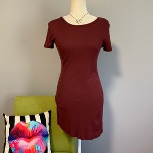Brandy Melville Maroon Ribbed Bodycon Dress D1